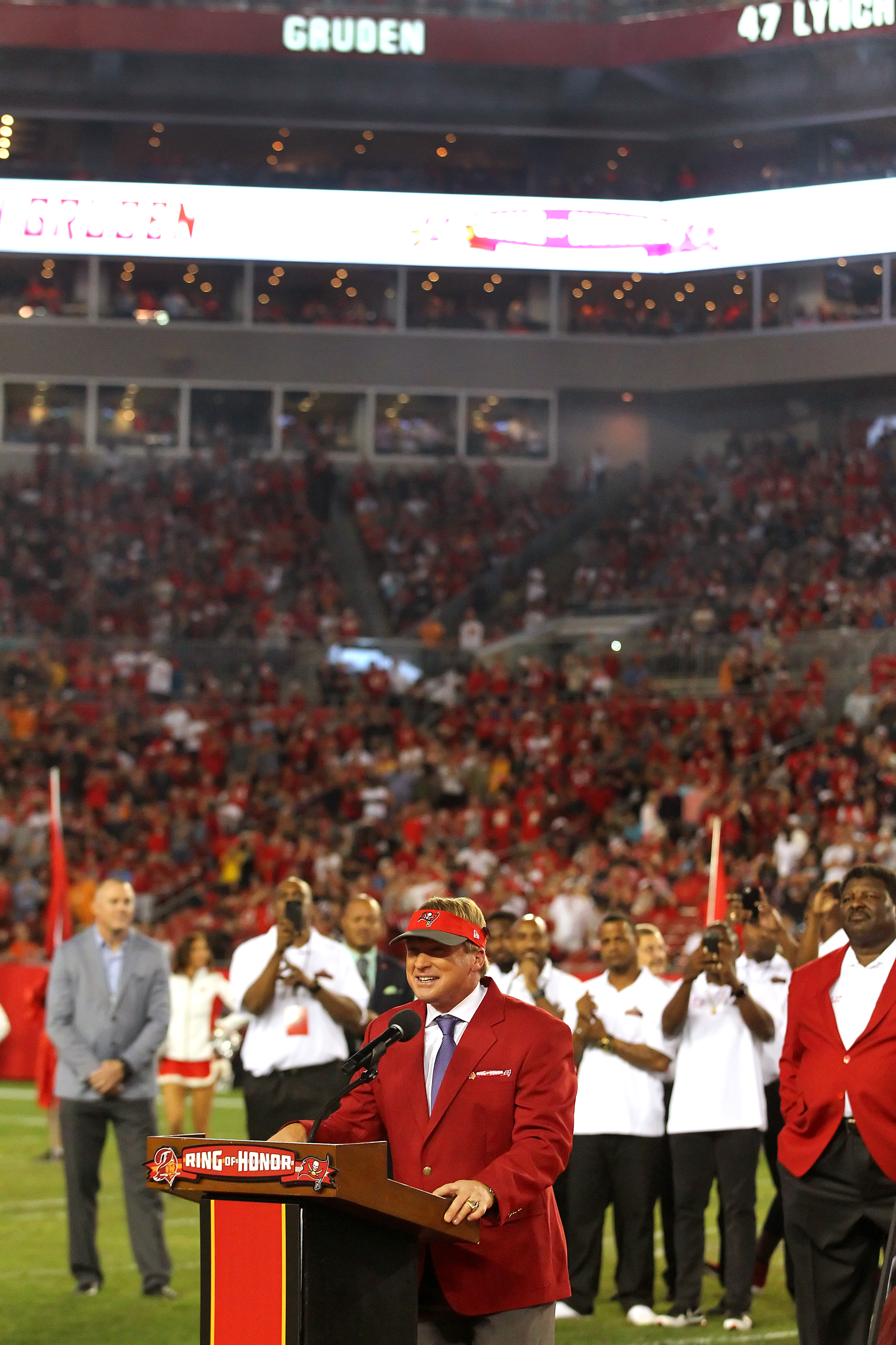 TAMPA FL – DEC 18 MNF announcer and former Tampa Bay Buccaneers Super Bowl winning head coach Jon Gruden speaks to the fans as he is Inducted into the